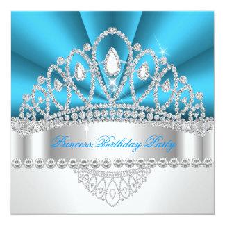 Geburtstags-Party Prinzessin-Blue White Diamond Quadratische 13,3 Cm Einladungskarte