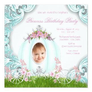 Geburtstags-Party Prinzessin-Carriage Foto Pink Quadratische 13,3 Cm Einladungskarte