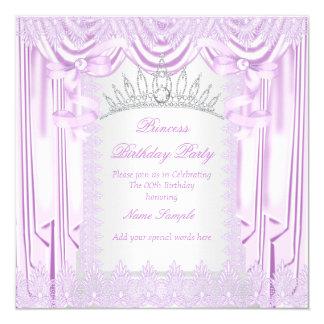 Geburtstags-Party Prinzessin-Lilac Lace Tiara Quadratische 13,3 Cm Einladungskarte