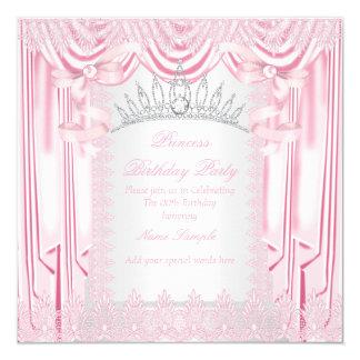 Geburtstags-Party Prinzessin-Pink Lace Tiara White Quadratische 13,3 Cm Einladungskarte