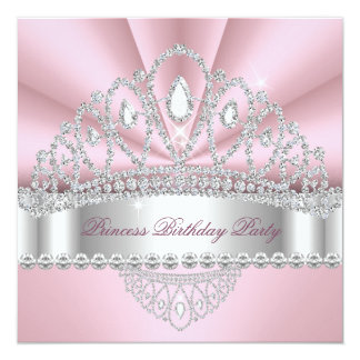 Geburtstags-Party Prinzessin-Pink White Diamond Quadratische 13,3 Cm Einladungskarte