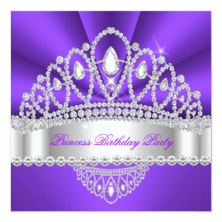 Geburtstags-Party Prinzessin-Purple White Diamond Quadratische 13,3 Cm Einladungskarte