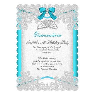 Geburtstags-Party Prinzessin-Quinceanera Teal Blue 12,7 X 17,8 Cm Einladungskarte