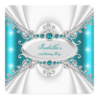 Geburtstags-Party Prinzessin-Teal Blue Pearls Quadratische 13,3 Cm Einladungskarte
