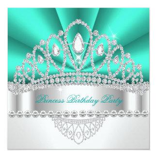 Geburtstags-Party Prinzessin-Teal Green Diamond Quadratische 13,3 Cm Einladungskarte