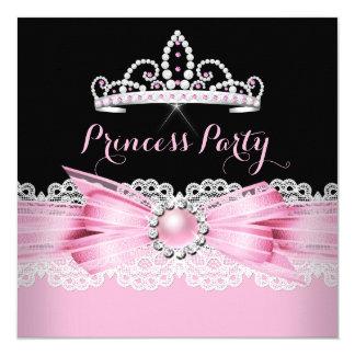 Geburtstags-Party Prinzessin-Tiara Pink Pearl Quadratische 13,3 Cm Einladungskarte