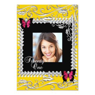 Geburtstags-Party-Rosa-Schwarz-Schmetterlinge Y 12,7 X 17,8 Cm Einladungskarte