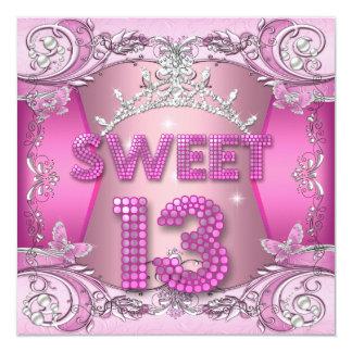 Geburtstags-Party-Rosa-SilberTiara des Bonbon-13 Quadratische 13,3 Cm Einladungskarte
