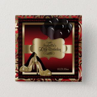 Geburtstags-Party | rot und Gold Quadratischer Button 5,1 Cm