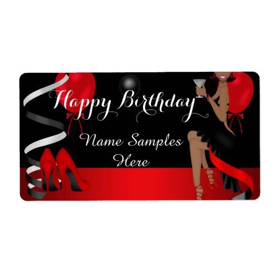 Geburtstags-Party-roter schwarzer Schuh-hoher Versandetikett