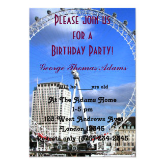 Geburtstags-Party steigt Muster London im Ballon 12,7 X 17,8 Cm Einladungskarte