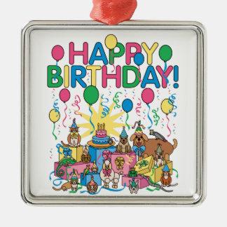 Geburtstags-Party-Tiere Quadratisches Silberfarbenes Ornament