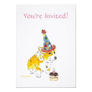 Geburtstags-Partycorgi-Einladung 12,7 X 17,8 Cm Einladungskarte