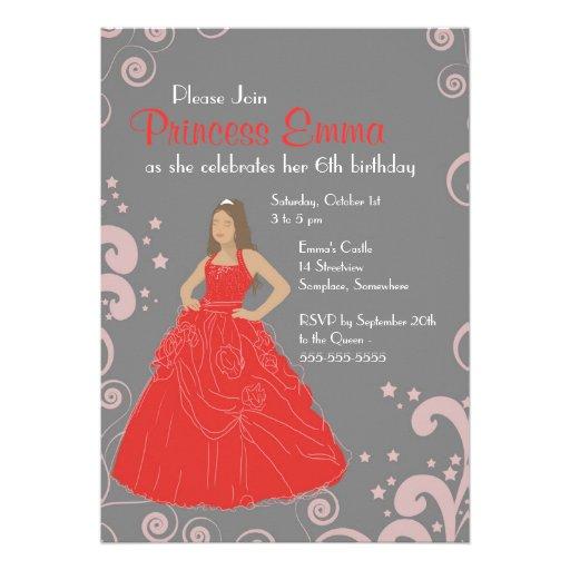 Geburtstags-Partyschloss Prinzessin laden rotes Personalisierte Einladung