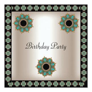 Geburtstags-Partysepia-Schwarz-aquamariner Quadratische 13,3 Cm Einladungskarte