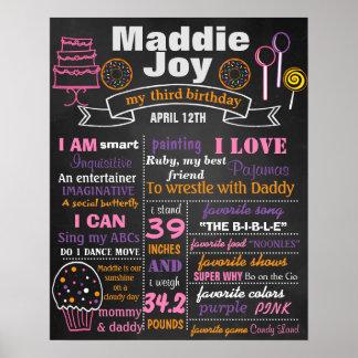 Geburtstags-Partytafelzeichen-Plakat Süßigkeit Poster
