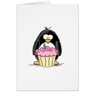 Geburtstags-Pinguin mit kleinem Kuchen Grußkarte