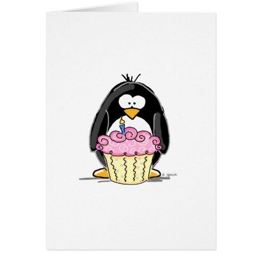 Geburtstags-Pinguin mit kleinem Kuchen Karte
