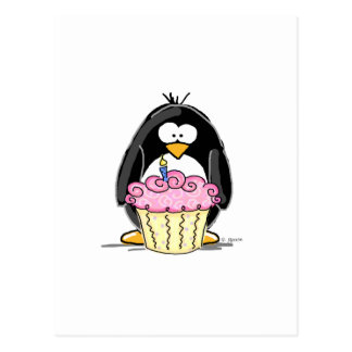 Geburtstags-Pinguin mit kleinem Kuchen Postkarte
