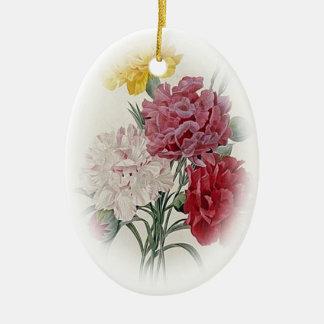Geburtstags-Rosa - Weiche umrandete Oval Keramik Ornament
