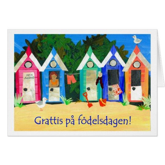 Geburtstags-Strand-Hütten-Karte - schwedischer Grußkarte