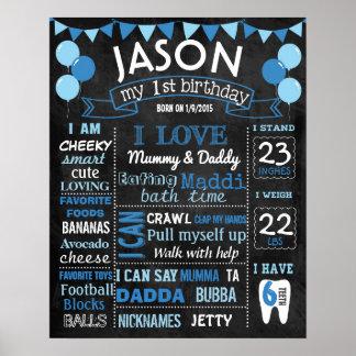 Geburtstags-Tafelzeichen der Ballone erstes Poster