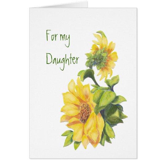 Geburtstags-Tochter-Aquarell-Sonnenblumen, mit Grußkarte