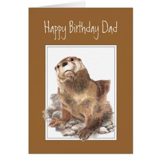 Geburtstags-Vati, Vater, niedlicher Fluss-Otter Grußkarte
