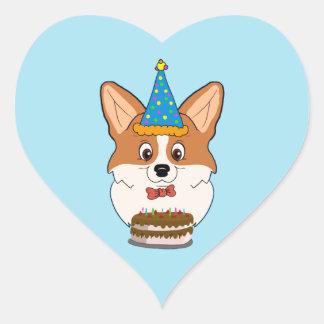 Geburtstags-Walisercorgi-Cartoon Herz-Aufkleber