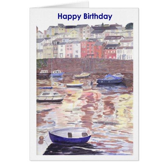 Geburtstagskarte, Brixham Hafen Devon Karte