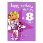 Geburtstagskarte des Alters 8 des Mädchens Karte