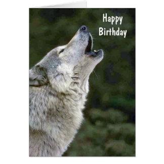 Geburtstagskarte des grauen Wolfs Heulens schöne Grußkarte