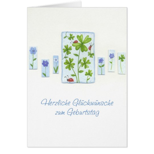 Geburtstagskarte mit Kleeblättern und Glückskäfern Karte