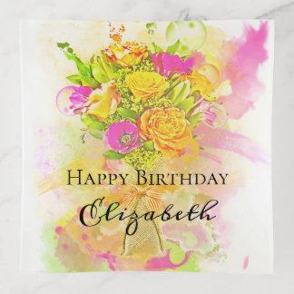 Geburtstagwatercolor-Blumen-Blumenstrauß Dekoschale