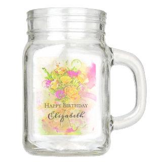 Geburtstagwatercolor-Blumen-Blumenstrauß Einmachglas
