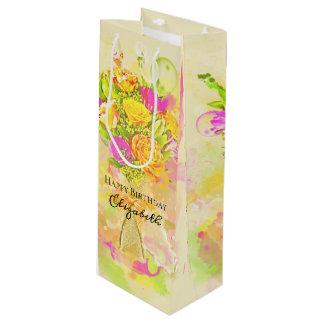 Geburtstagwatercolor-Blumen-Blumenstrauß Geschenktüte Für Weinflaschen