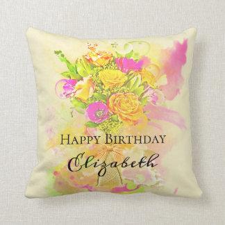 Geburtstagwatercolor-Blumen-Blumenstrauß Kissen