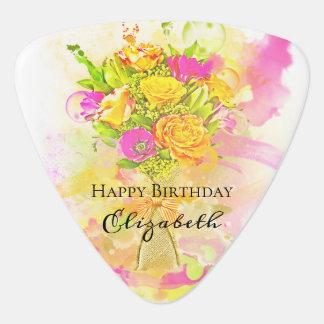 Geburtstagwatercolor-Blumen-Blumenstrauß Plektron