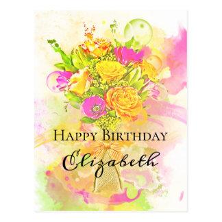 Geburtstagwatercolor-Blumen-Blumenstrauß Postkarte