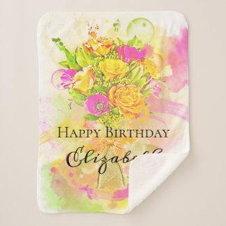 Geburtstagwatercolor-Blumen-Blumenstrauß Sherpadecke