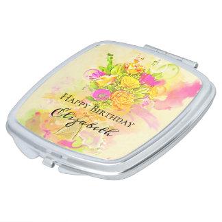 Geburtstagwatercolor-Blumen-Blumenstrauß Taschenspiegel
