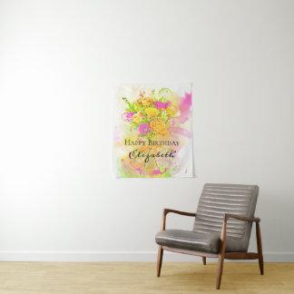 Geburtstagwatercolor-Blumen-Blumenstrauß Wandteppich