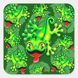 Gecko-Eidechsen-Baby-Cartoon Quadratischer Aufkleber