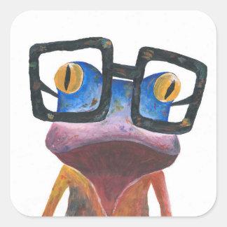 Gecko mit Glas-Retro Aufkleber