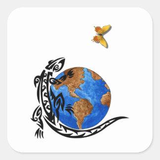 Gecko-Welt Quadratischer Aufkleber