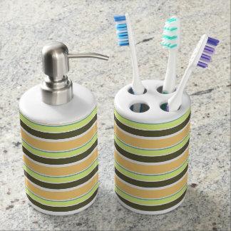 Gedämpfte neapolitanische Streifen Seifenspender & Zahnbürstenhalter
