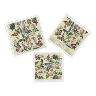 Gedämpfte Vintage botanische Blumen Acryl Tablett