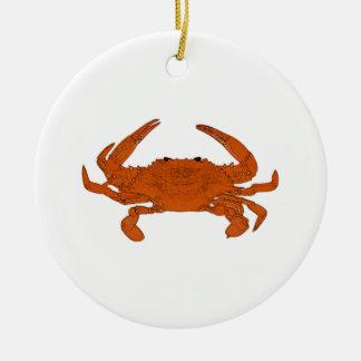 Gedämpftes Krabben-Logo (atlantische blaue Krabbe) Keramik Ornament