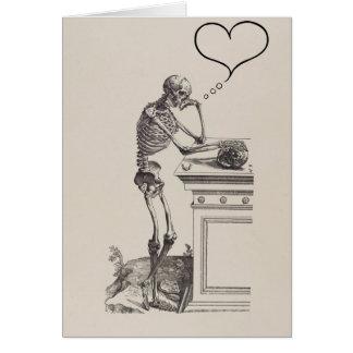 Gedanken des Liebe-Skeletts Karte