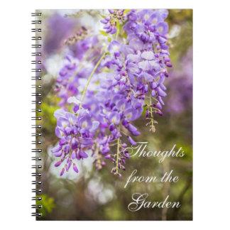 Gedanken vom Garten-Glyzinie-Notizbuch Spiral Notizblock